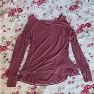 soft and sexy american eagle slit shoulder top
